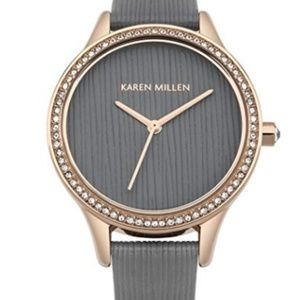 New Karen Millen Diamond Accent Gold Grey Watch